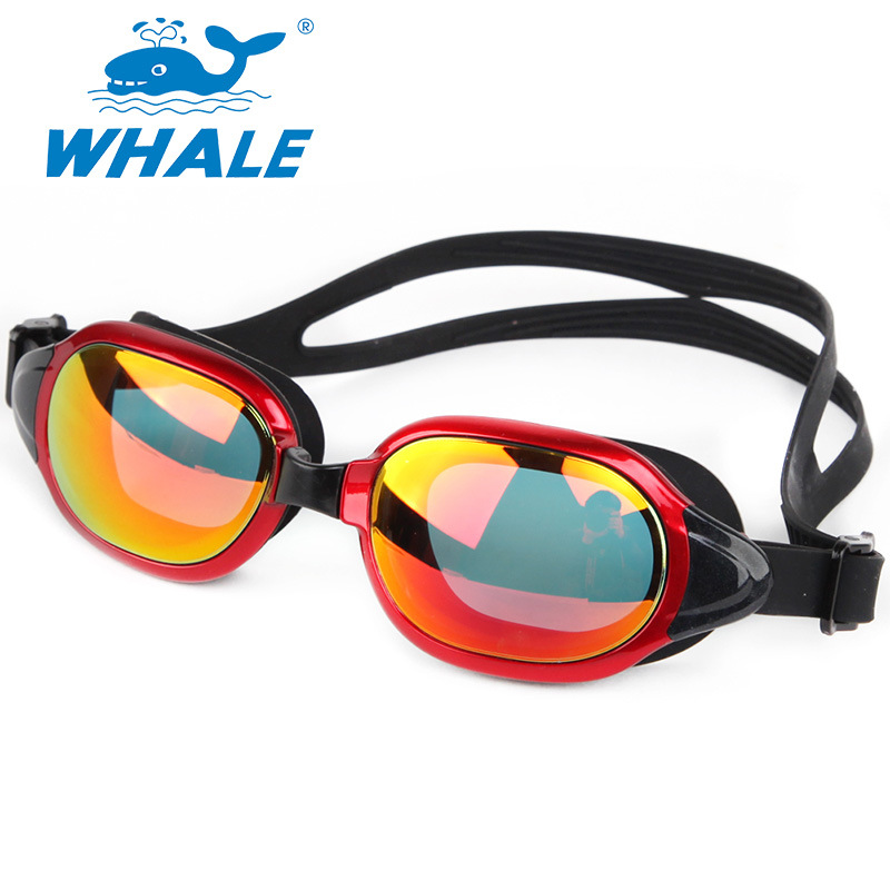 Whale Goggles Electroplated New Style Big Box Adult Waterproof Anti-fog High-definition Silica Gel Swimming Glasses Eye Protecti