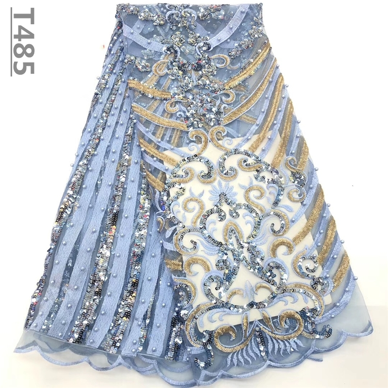 2018 High Quality Embroidery African Lace Fabric Tulle Beaded Net French Lace Guipure Material Sky Blue