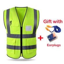 Chaleco reflectante de seguridad de alta visibilidad para hombre y mujer, chaleco reflectante de trabajo con múltiples bolsillos, ropa de seguridad para el trabajo, 2020