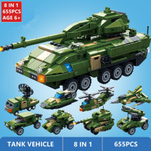 8Pcs/lot Stryker Armored Fighting Vehicle Tank Building Blocks LegoINGLs Military Army WW2 Playmobil Bricks Toys Christmas Gifts