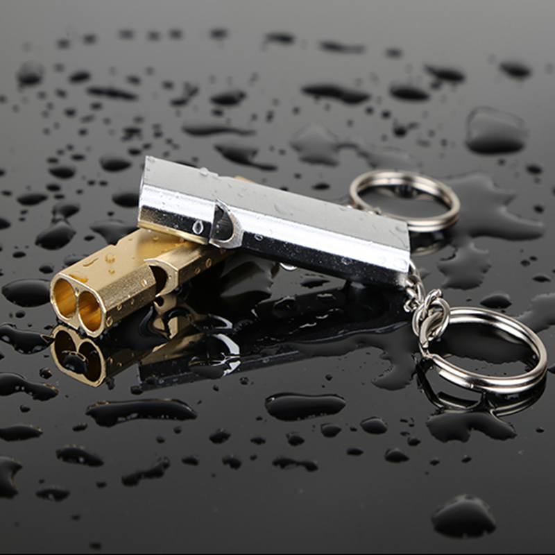 1/2/5pcs Outdoor Camping Hiking Survival Whistle Keychain Gold Color Aluminum Material Emergency Whistle With Key Ring