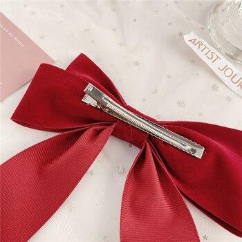 17KM Vintage Black Big Large Velvet Bow Hair Clip For Women Girls Wedding Long Ribbon Korean Hairpins Barrette Hair Accessories 5