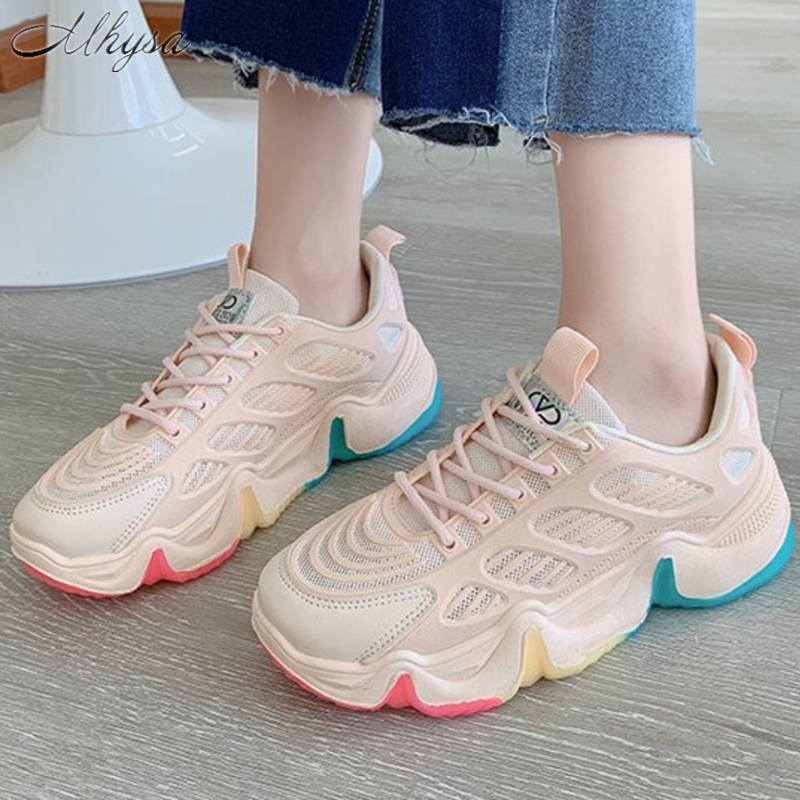 2020 Chunky Sneakers New White Shoes Woman Fashion Dad Shoes Mesh Big Wave Platform Sneakers Women Casual Shoes Tenis Feminino