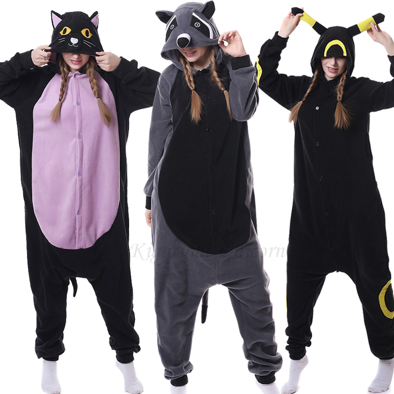 Kigurumi Unicorn Pajama Adult Animal Cat Raccoon Onesie Women Men Couple Winter Pajamas Suit Nightie Sleepwear Flannel Homewear