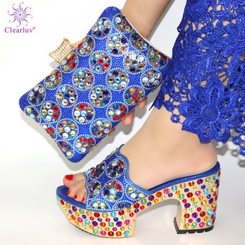 Blue Color Matching Women Shoe and Bags Set Decorated with Rhinestone African Shoe and Bag Set for Party In Women Italy Shoes capputine africa desgin rhinestone shoes and purse set nigeria style summer high heels shoes and bag set for wedding party
