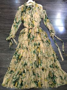 Image 5 - 2019 秋シルクスリーブフリル花柄ボヘミアン womend ドレス