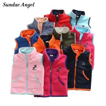цена на Sundae Angel Vest For Girl Waistcoat Stand collar Children Vest For Boy Embroidery Donkey Pattern Polar Fleece Outerwear Coats