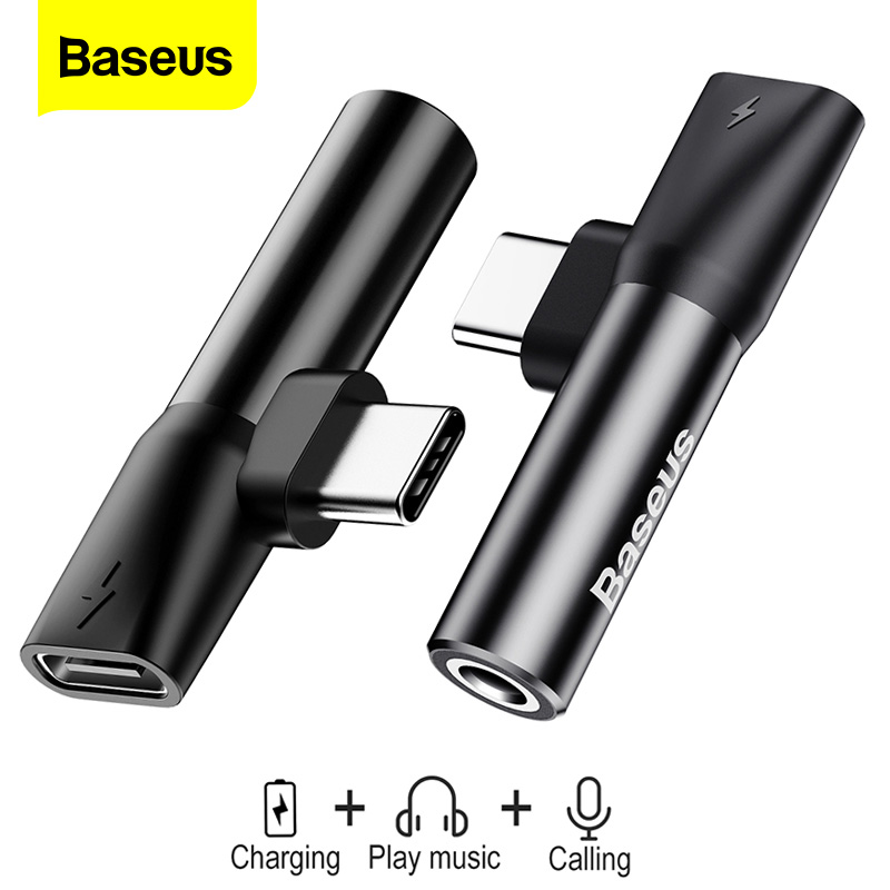 Baseus USB Type C To 3.5mm Jack Adapter For Xiaomi Mi 9 8 Huawei Mate 30 P30 Pro Type-C OTG USB-C USBC Audio Splitters Adapter