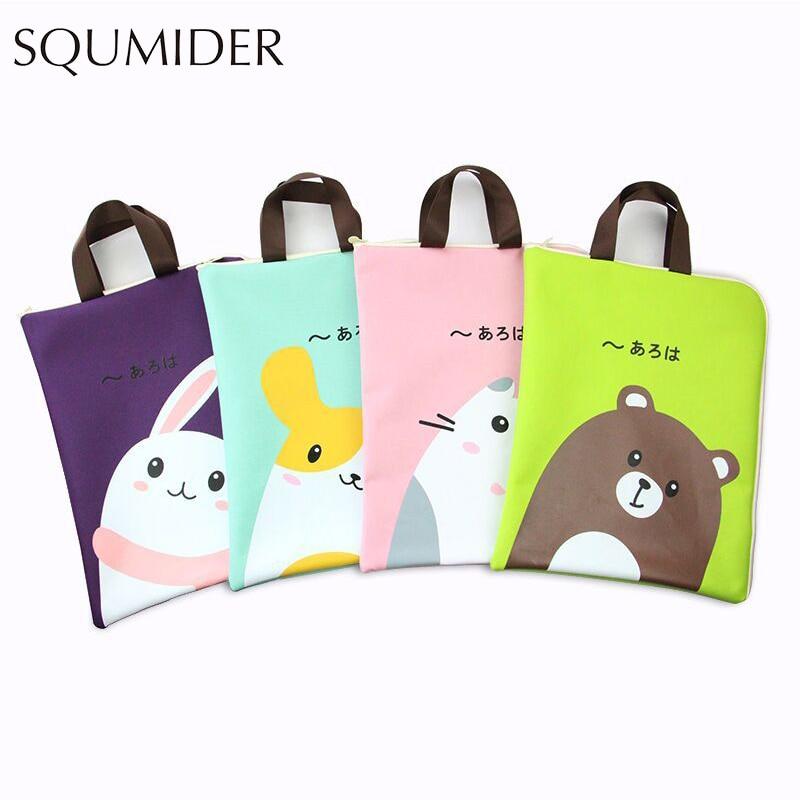 Cartoon Hand File Bag Kawaii Animals Big Large Pencil Bag For Students Gift Office School Stationery Supplies