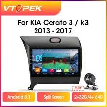 Vtopek 9″ DSP 4G+WiFi 2din Android Car Radio Multimedia Video Player Navigation GPS For Kia K3 Cerato Forte 2013-2017 3 YD Tuner