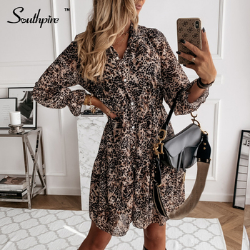 Southpire Leopard Print Long Sleeve Dress Women Autumn Winter Front Button Chiffon Shirt Dress Daily Casual Vintage Clothes 1