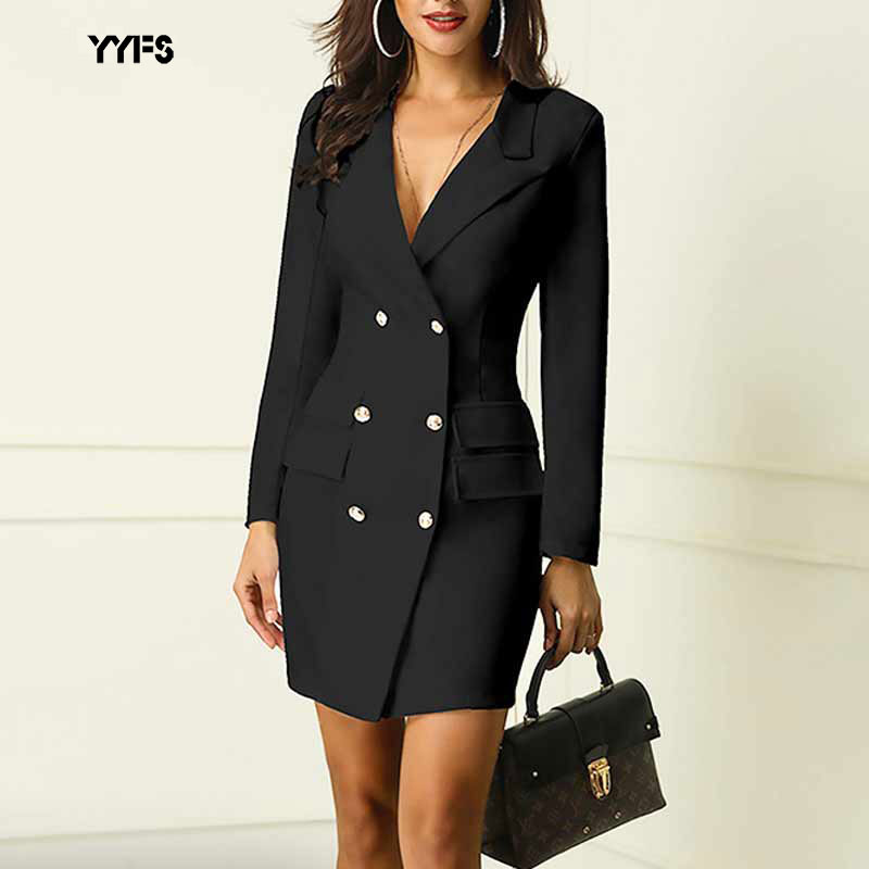 Women Black Blazer Office Formal Long Sleeve Coat New Long Autumn Double-breasted Slim Sexy Ladies Office Wear Coat Outwear 2019