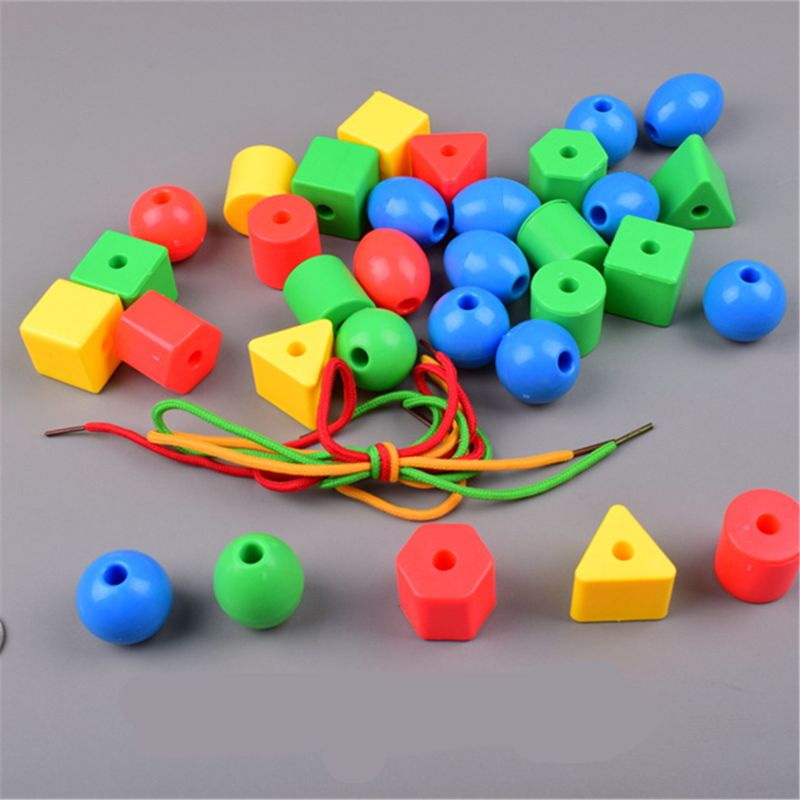 Preschool Large Lacing Beads For Kids - 70 Stringing Beads With 4 Strings Toddler Montessori Toys For Toddlers Occupational Ther