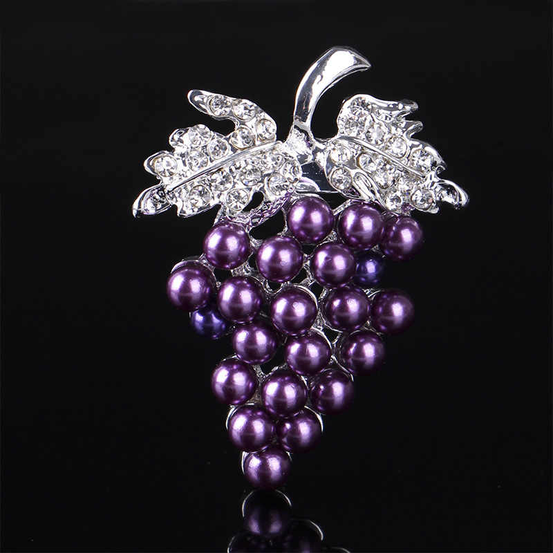 Uvas Broches Chapado en Oro Perla Broche de Diamantes de Imitación Moda Bufanda Hebilla
