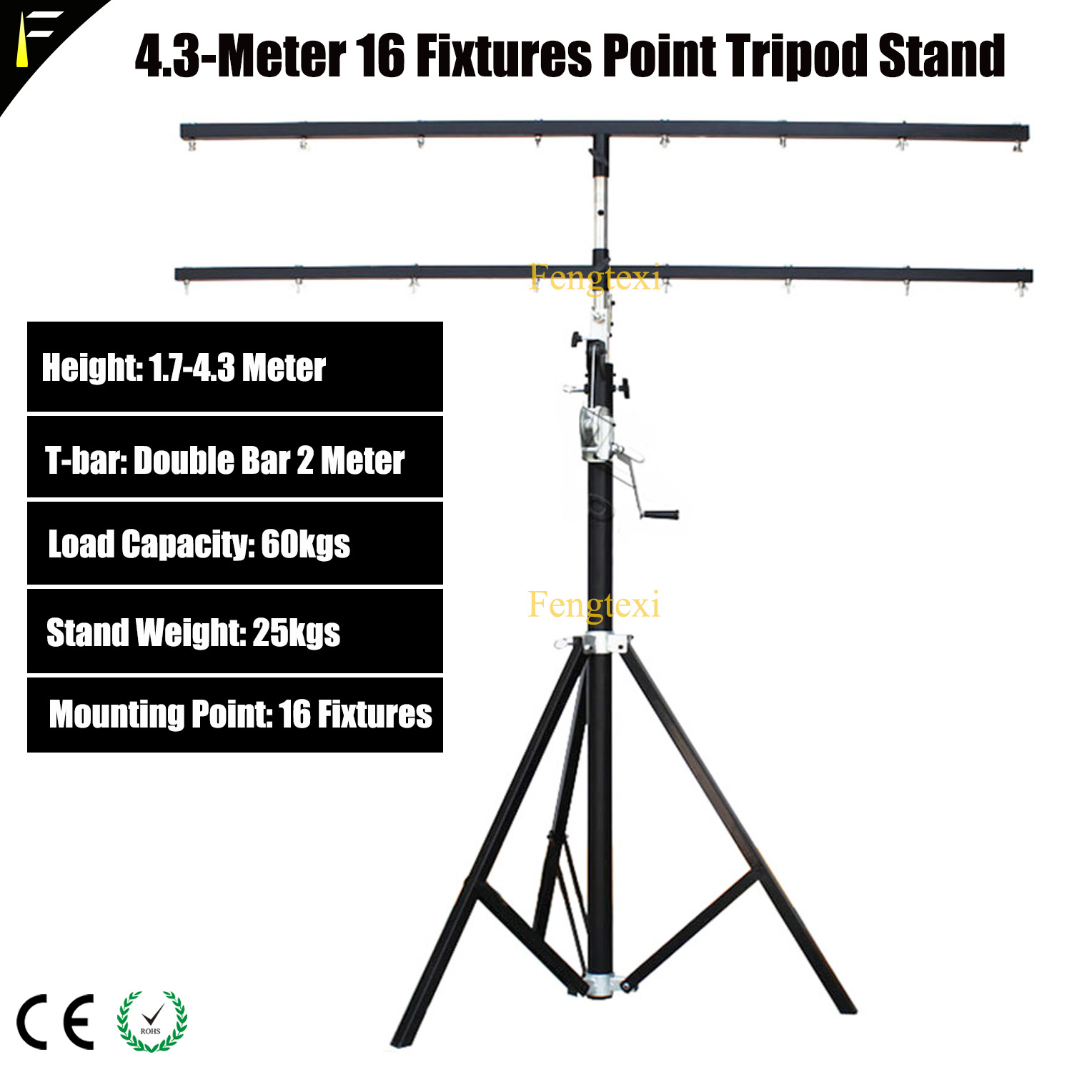 Pro Stage Light Led Par Moving Head Light Stand Single/Double 2m Crossbar Hand Crank Lifting Tripod Stand 4.3 Max Height