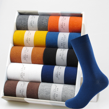5 Pairs Business Dress Socks Men's Breathable Winter Warm Cotton Socks Long Male High Quality Happy Colorful  Socks For Man Gift
