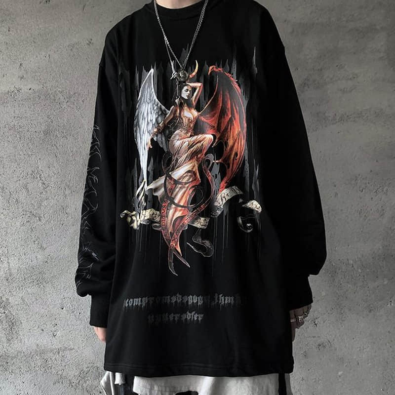 NiceMix Harajuku Style Devil Goddess Letters Print Thin Hoody Autumn Streetwear O-neck Pullovers Sweatshirt Women Men Cloth Tops