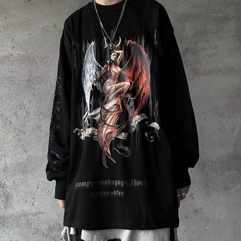 NiceMix Harajuku Style Devil Goddess Letters Print Thin Hoody Autumn Streetwear O-neck Pullovers Sweatshirt Women Men Cloth Tops
