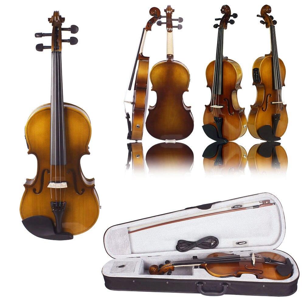 4/4 Kit de violon électrique EQ acoustique en bois massif en épicéa avec étui rigide et repose-épaule câble Audio