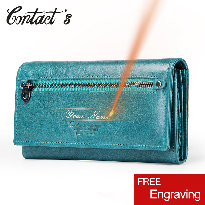 Contact's HOT Genuine Leather Women Wallet High Quality Coin Purse Female Long Clutch Wallet Luxury Brand Money Bag Card Holder