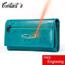 Contacts HOT en cuir véritable femmes portefeuille de haute qualité porte monnaie femme longue pochette portefeuille de luxe marque argent sac porte carte