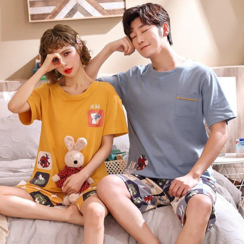 Summer New Knitted Cotton Women's Pajama Set Couple Cartoon Nightwear Sets Men's Pajama Sets Lovers Sleepwear M-3XL Home Fashion