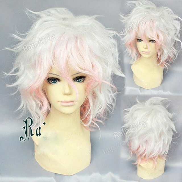 Danganronpa Dangan Ronpa Nagito Komaeda peruka krótkie kręcone żaroodporne syntetyczne peruki do włosów + czapka z peruką