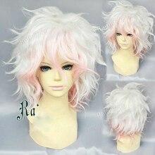 Danganronpa Dangan Ronpa Nagito Komaeda 가발 짧은 곱슬 내열성 합성 머리 가발 + 가발 모자