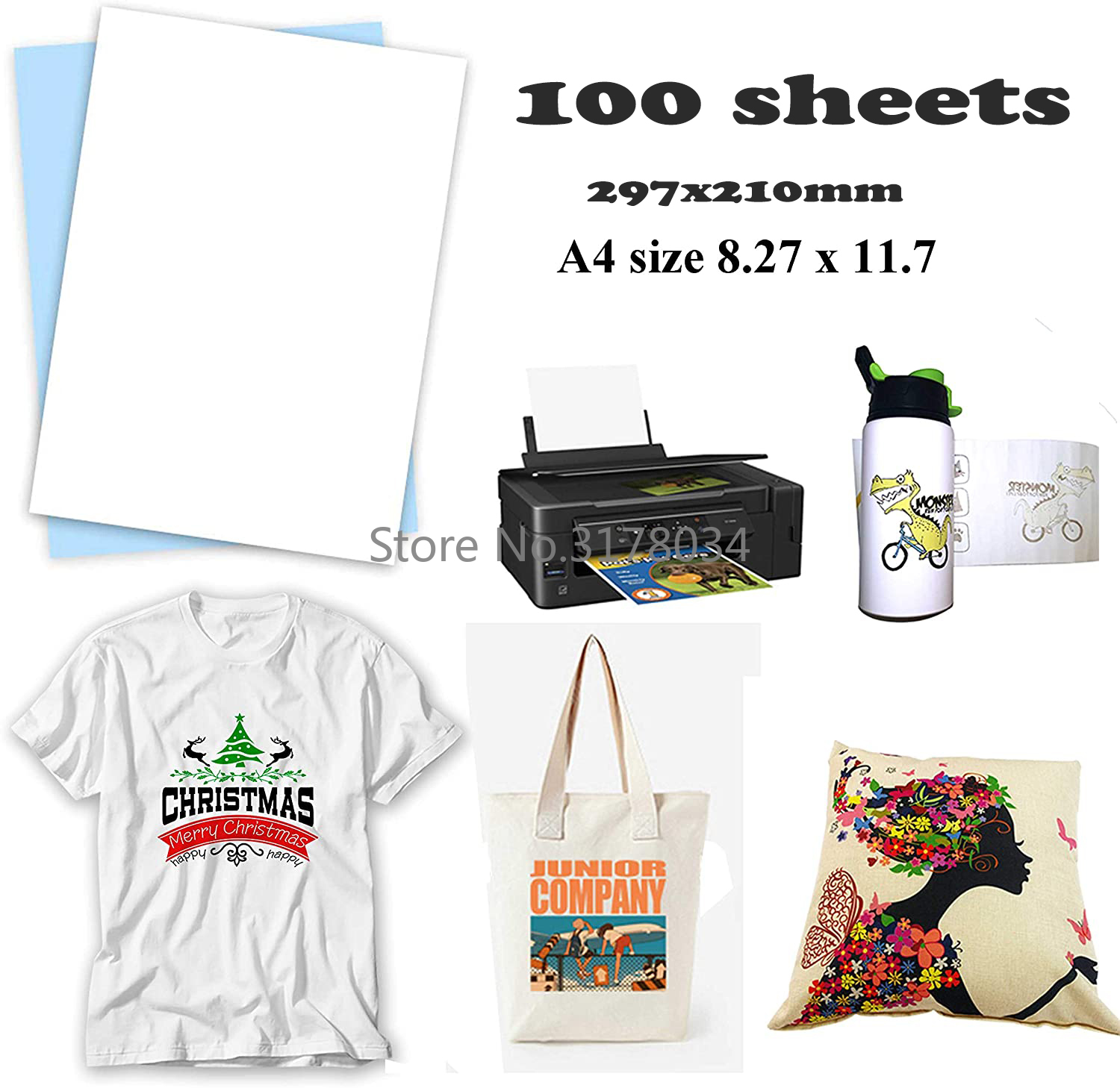 100Sheets A4 Sublimation Paper Heat Transfer Paper For EPSON HP CANON Inkjet Printer In Light Color Shirts Hat Cap Mug Cup