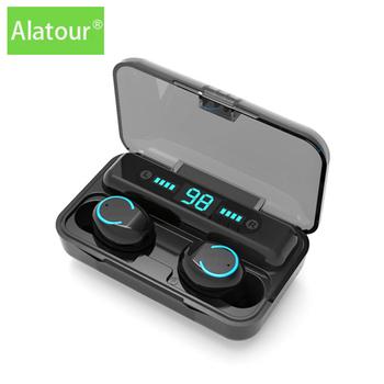 Alatour F9-9 słuchawki bezprzewodowe 1800mAh power bank Bluetooth 5 0 słuchawki Sport LED cyfrowy wyświetlacz słuchawki etui z funkcją ładowania tanie i dobre opinie douszne NONE Dynamiczny CN (pochodzenie) Prawdziwie bezprzewodowe Zwykłe słuchawki do telefonu komórkowego instrukcja obsługi