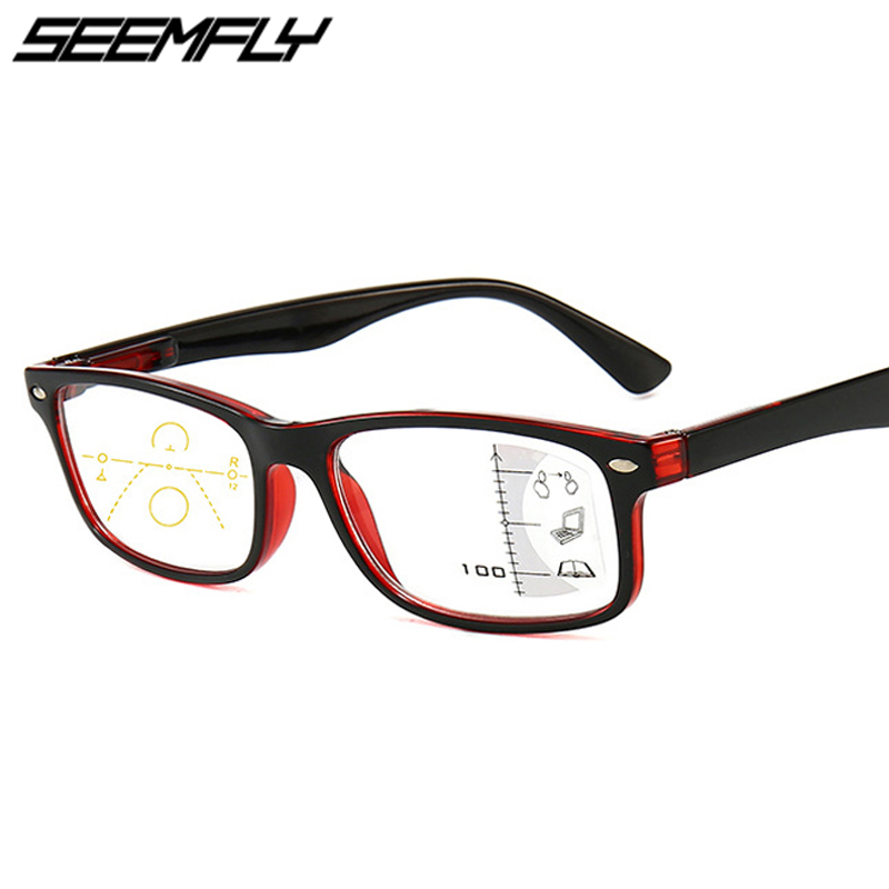 Seemfly Progressive Multifocal Reading Glasses Men Women Square Anti Blue Light Eyeglasses Near Far Sight Diopter 1.0 1.5 2.0