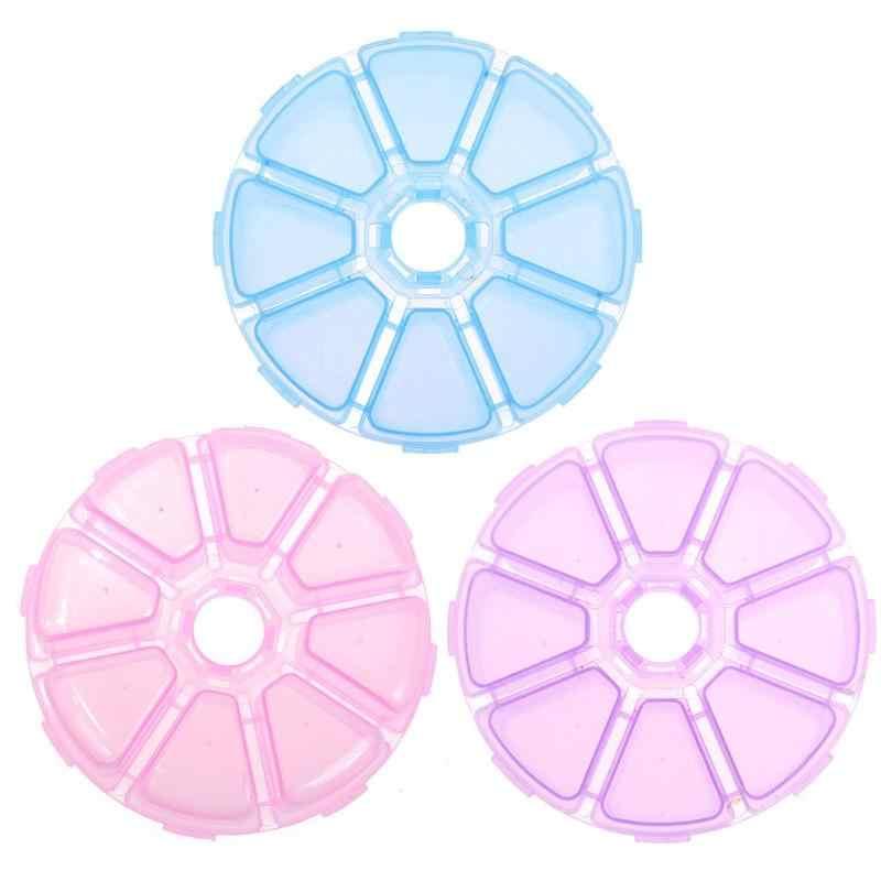 8 Compartiment Ronde Clear Plastic Opbergdoos Sieraden Kralen Organizer Huishoudelijke Gadget Opslag