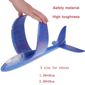 Image 3 - 48*48 cm mano tirar DIY avión volador aviones juguetes para niños regalo de fiesta Avión de espuma juguetes voladores juego de juguete de avión