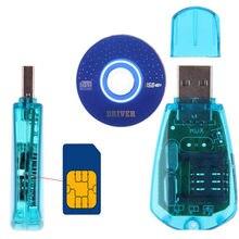Mini leitor de cartão sim usb, kit de cópia e leitor de cartão sim gsm cdma wcdma sms e conversor de celular com disco