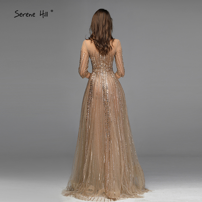 Image 2 - Gold Dubai Design Long Sleeves Evening Dresses 2020 A Line Luxury Beading Crystal Evening Gowns Real Photo LA70170Evening Dresses   -