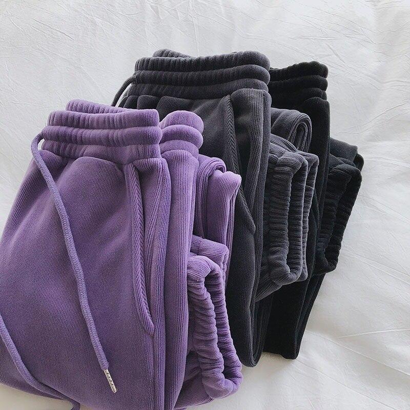 Calças esportivas femininas inverno calças grossas lã quente feminino casual solto longo harem calças de cintura alta mulher calças quentes