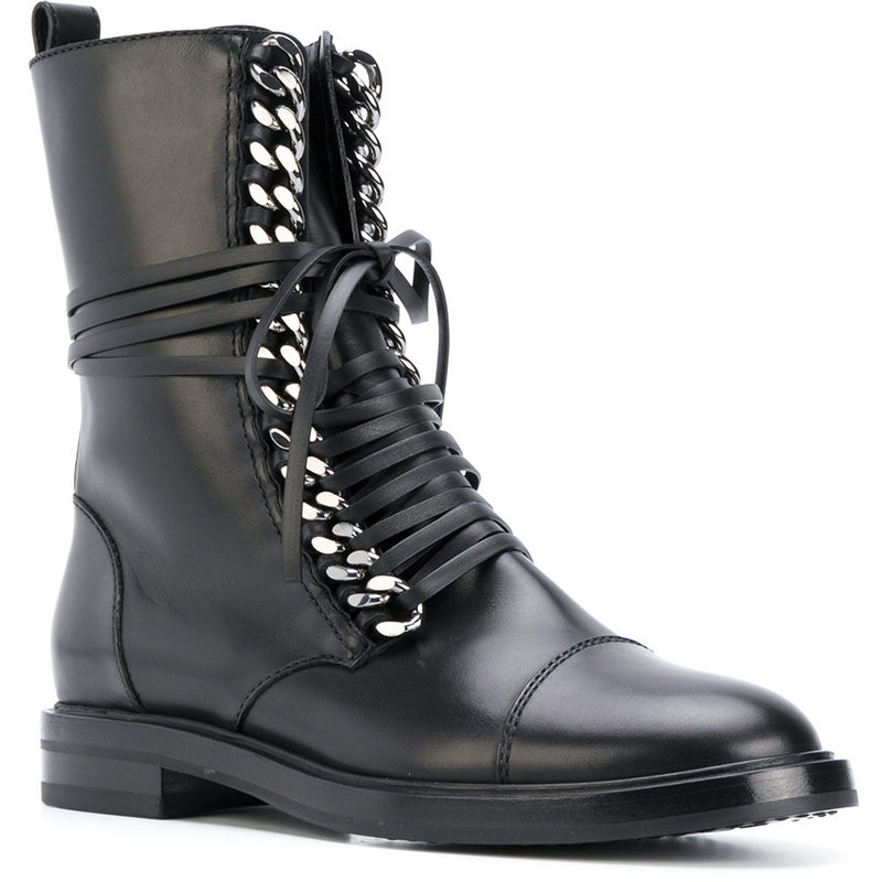 Fashion Gold Chain Ankle Boots Black Leather Lace up Stacked Heel Flat Motorcycle Boots Women Round Toe Lady Runway Ridding Boot - 2
