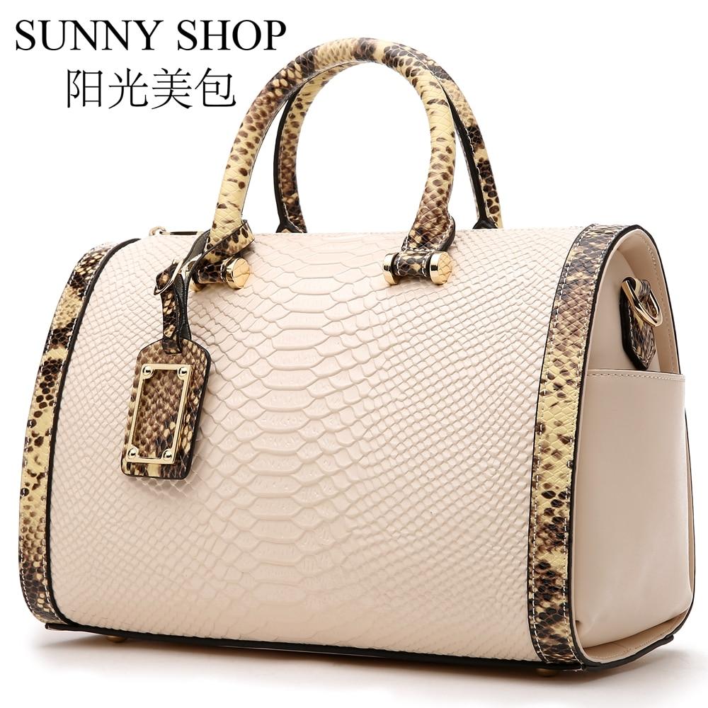 SUNNY SHOP Designer Handbags High Quality Real Leather Shoulder Bag Women Fashion Handbag Large Boston Bag Serpentine Pattern