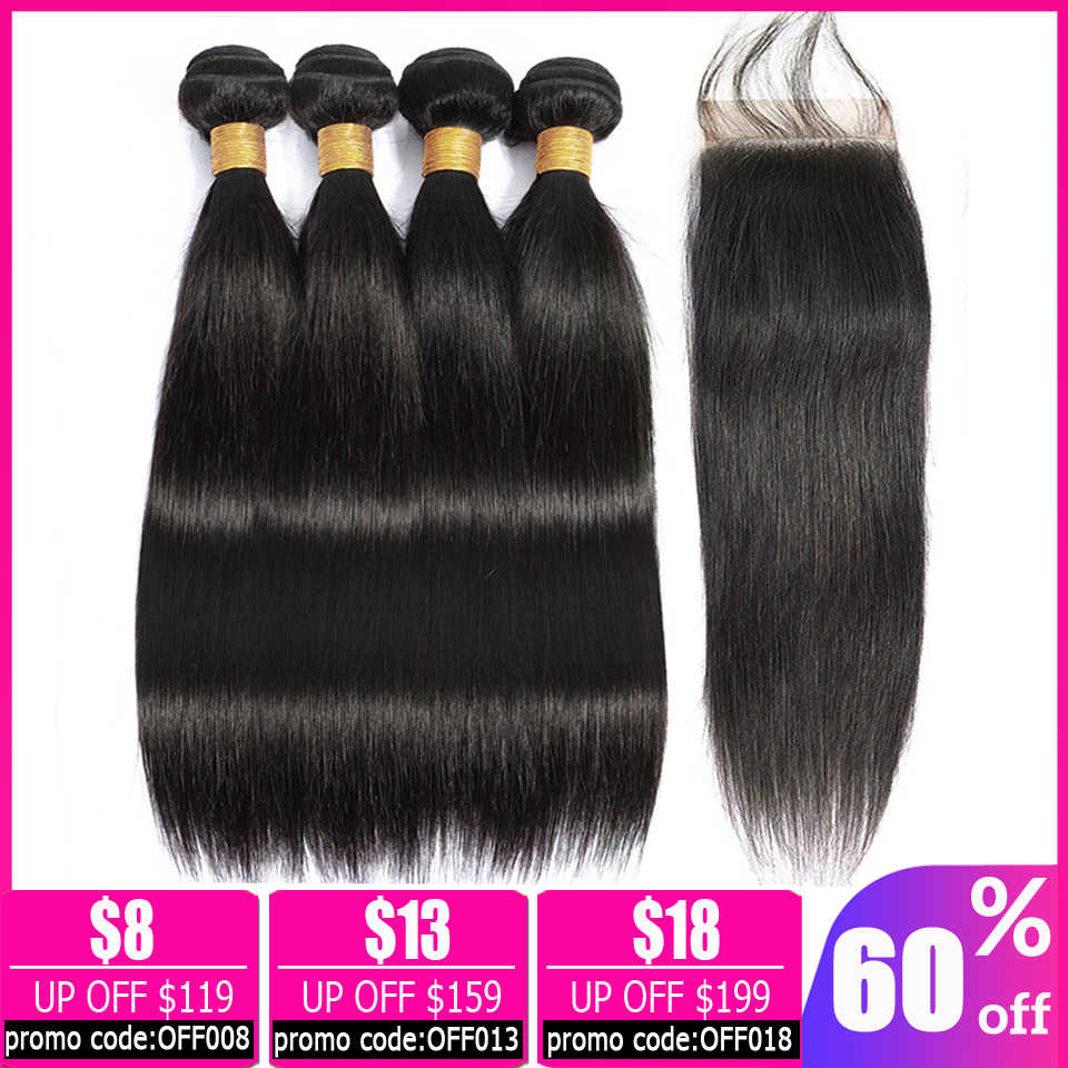 lanqi straight hair bundles with closure human hair weave 2 4 bundles with closure Peruvian hair bundles with closure non-remy
