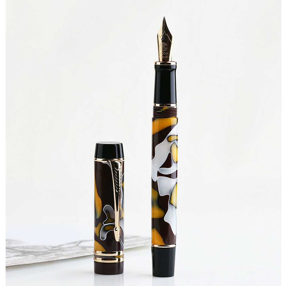 Moonman M600S Celluloid Amber Fountain Pen F/M/Bent Nib With Converter Excellent Quality Office Business Writing Gift Ink Pen