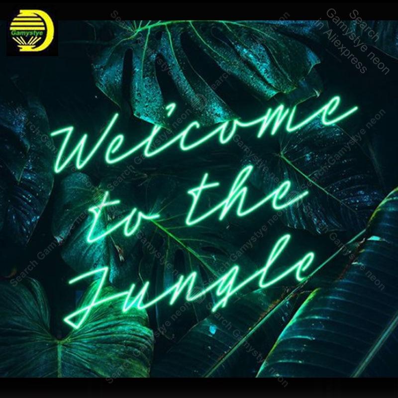 النيون تسجيل ل مرحبا بكم في الغابة النيون لمبة تسجيل الهدايا الحرفية النيون لافتة أضواء الجدار أننسيو لومينوس restraouttaver