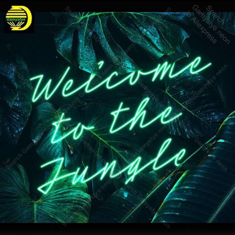 Neon Sign สำหรับยินดีต้อนรับสู่ Jungle หลอดนีออนป้าย handcraft ของขวัญนีออนป้ายผนังไฟ anuncio luminos Restraunt taver