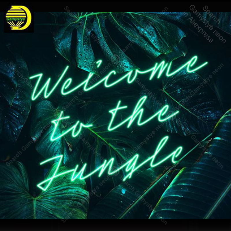 Neon Sign for Welcome to the Jungle Neon Bulb sign handcraft gifts neon signboard wall lights anuncio luminos Restraunt taver|Neon Bulbs & Tubes| |  - title=