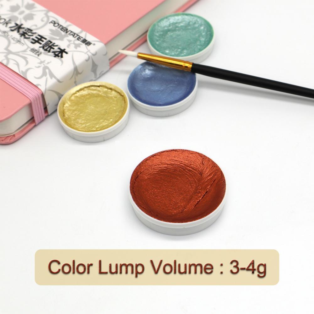 12Color Metallic Watercolor Paint Set Gold Paint Watercolors With Water Brush for Painting Water Color Pigment Art Supplies