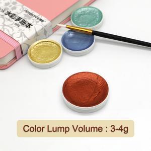 Image 5 - 12Color Metallic Watercolor Paint Set Gold Paint Watercolors With Water Brush for Painting Water Color Pigment Art Supplies