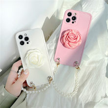 Luxury Pearl Bracelet Cute Silk Camellia Flower Holder Phone Case For Huawei P30 P40 Mate 30 40 Nova 5 7 Pro Soft Cover Chain
