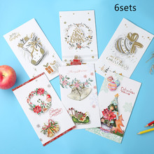 6sets Christmas Greeting Card Three-dimensional Paper Carving Business Gift Coupons Custom Creative Valentine's Day