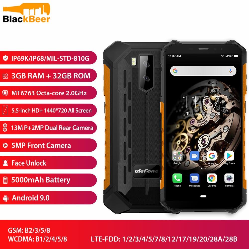 Ulefone Armor X5 5,5 мобильный телефон 4G LTE прочный водонепроницаемый смартфон Android 9,0 мобильный телефон 3 ГБ 32 ГБ MT6763 Восьмиядерный IP68 NFC