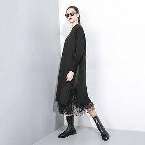 Image 5 - [EAM] ผู้หญิงสีดำตาข่ายDotแยกชุดใหม่ขาตั้งคอยาวแขนยาวหลวมFitแฟชั่นฤดูใบไม้ผลิฤดูใบไม้ร่วง2020 1B593