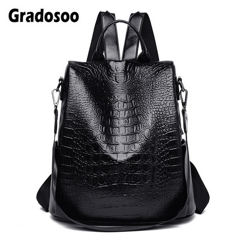 Gradosoo Alligator Anti-theft Backpack Women Large Multifuntion Backpack PU Leather School Bags For Women New Travel Bags HMB661